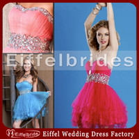 Wholesale Sparkly Short Prom Dresses New with Sexy Bling Bling Crystals Sweetheart Neck and Embellished Pick ups Piping Puffy Graduation Dresses