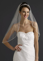 Wholesale Bridal Elbow Length Veil Tier with Beaded Edge Style white ivory