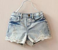 Wholesale 2014 Girl Jean Shorts Girl Lace Denim Shorts Kids Pants Jeans New Arrival Fashion Girls Jeans Children Shorts Blue Jeans