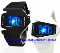Unisex backgrounds designs - Mix Colors Digital Stealth Fighters Design LED Sports Watch Colorful Background Lights Alloy watch LW003