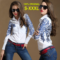 Casual womens tops - S M L XL XXL XXXL Womens Shirt OL Autumn Summer Tops Runway Blue Floral Printed Flower Totem Printed long sleeves Shirts