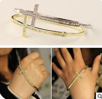 Wholesale Sideway Cross Charm Wholesale - Hot Sales Fashion Punk Crystal Sideway Cross Simple Charm Palm Ring Bracelet Bangle Cuff