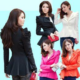 Wholesale Amazing Ladies Black Suit Blazer One Button Shrug Shoulder Women Jackets Coat Double Collars Basic Jackets Swallowtail S M L XL XXL JE52