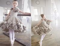 Girl girls knee length pageant dresses - 2016 Vintage Wedding Flower Girls Dresses Sleeveless Knee Length A Line Tulle Hand Made Flowers Ballet Pageant Dresses BO5413