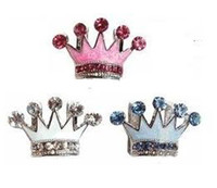Wholesale 3colors Luxury Rhinestones Enamel Crown mm Slide Charm For Dog Pet Collar Pet Fashion Pet Jewelry Pet Product