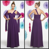 Reference Images Pleats Sleeveless 2014 Long Cheap Purple Bridesmaid Dresses Chiffon One Shoulder Zipper With Shawl Ruched Maid Of The Honor Dresses Val Stefani VS9195
