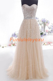 New Champagne Long Prom Dresses A Line Evening Gowns Sequined Sash Bridemaid Dress Custom Make