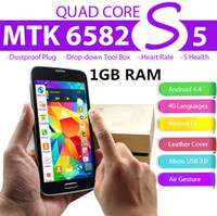 Wholesale NEW S5 SM G900 inch MTK6582 GB RAM USB3 MP Camera Quad Core GHz Heart Rate S Health Android GPS WiFi G WCDMA Camera FM