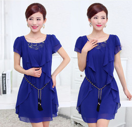Wholesale New summer plus size women s fashion casual short sleeved round neck solid color slim waist chiffon dress belly chain