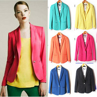Jackets Women Cotton Blends Women candy color full-sleeved single button blazers female fashion slim small suit jacket free shipping