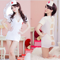 Wholesale Nurse Costume Lingerie Nightclubs performance clothing Sexy underwear Exotic Apparel hat dress thong