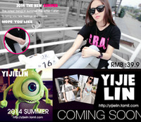 Wholesale The new spring summer outfit in big yards dress sexy shoulders leakage bowknot long thick stripe T shirt girl