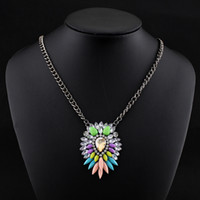 Cheap Free Shipping New 2014 Shourouk Acrylic Crystal Charm Necklaces & Pendants Fashion Jewelry Items Statement Necklace Women
