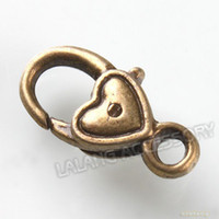 Clasps & Hooks Jewelry Findings Yes 90pcs lot Wholesale Mixed Vintage Bronze Alloy Metal Lobster Clasp Jewelry Finding 17*8*5mm160509