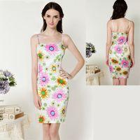 Casual Dresses Strapless Tea Length 2014 summer women's daisy satin print tight suspender skirt o-neck strapless one-piece dress