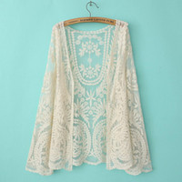 Women Regular Long Sleeve 2014 summer women Floral crochet lace cardigan gauze embroidery shirts see through air conditioning sunscreen beach jacket coat long sleeve