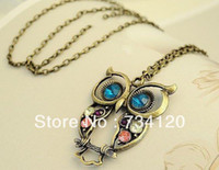 Wholesale N005 Min order Is mix order Fashion lovely vintage Colorful Cute bronze OWL necklace