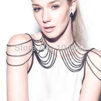 Wholesale STYLE B176 WOMEN FASHION GRAY BLACK PLATED METAL CHAIN DOUBLE SHOULDERS BODY CHAIN JEWELRY