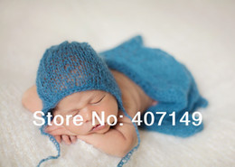 Wholesale Hand Knit Mohair Wrap With Bonnet set Newborn Photography Props Baby Shower Gift Props For Baby