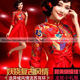 Wholesale China Red Retro High Neck Cheongsam Skirt With Bow In Front For Wedding Important Occasions HoozGee