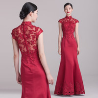 Wholesale Dora Wine red long design stand collar lace flower bag bridal evening dress