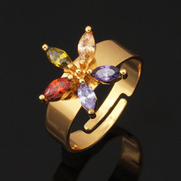 Luxury Zircon Ring Wholesale Trendy 18K Gold Plated Flower Fashion Jewelry Adjustable Size Wedding Bands Rings For Women Y110