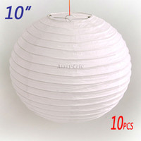 Modern chinese christmas lights - 10 inch cm White Chinese Japanese Paper Lantern Light Lampshade for Christmas Festival Wedding BBQ Party Decoration