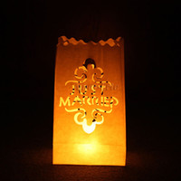 Table Centerpieces wedding candle holder - 20 quot Just Married quot Tea light Holder Luminaria Paper Lantern Candle Bag For BBQ Xmas Christmas Party Wedding