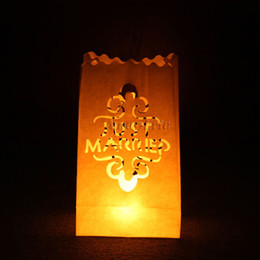 Wholesale 20 quot Just Married quot Tea light Holder Luminaria Paper Lantern Candle Bag For BBQ Xmas Christmas Party Wedding
