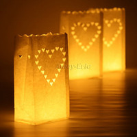 Wholesale 20 Heart Tea light Holder Luminaria Paper Lantern Candle Bag For BBQ Christmas Party Wedding