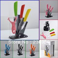 Wholesale Relanx kitchen ceramic knife sets With Holder quot quot peeler Holder colorful handle ceramic knife Set