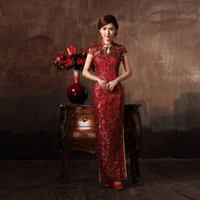 Wholesale The bride married cheongsam Wine toadyisms red formal dress cheongsam dress traditional placketing