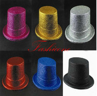 Wholesale Mens Womens Stage Burlesque Gold Glitter Top Hat Costume Accessory Unisex