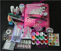 Wholesale Drop Shipping Pro W UV GEL Pink Lamp amp Color UV Gel Nail Art Tool Kits Sets