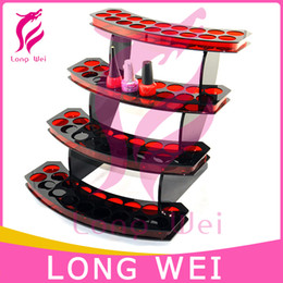 Wholesale Drop shipping Cosmetic Practical red Acrylic nail polish Storage Display Stand Case Rack Holder