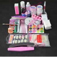 Wholesale Drop Shipping Pro Nail Art UV Gel Kits Tools Brush Remover Nail Tips Glue