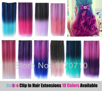 Ombre Color clip in one piece extensions - Cheap Synthetic Clip In Ombre Colorful Hair Extensions Straight One Piece With Clips Attached
