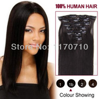 Wholesale Indian Remy Human Hair Clip In Hair Extensions Full Head Set quot quot B Natural Black