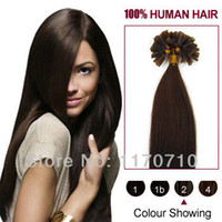 Wholesale Indian Remy Human Hair Prebonded Nail Tip U Tip Hair Extensions Straight Dark Brown S S