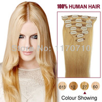 Wholesale Indian Remy Human Hair Clip In Hair Extensions Full Head Set quot quot quot quot Strawberry Blonde G