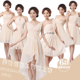 Wholesale 2014 New Bridesmaid short dress design champagne knee length off the shoulder appliques silk chiffon