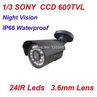Indoor 24 LED 600TVL Free Shipping Wholesale Home Security 1 3 SONY CCD HD Waterproof IP66 Bullet Outdoor Cameras 600TVL