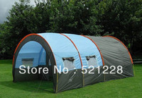 Wholesale 8 persons waterproof Canvas Outdoor Camping large family tunnel tent bedrooms and living room tent