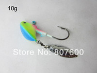 High Carbon Steel   Fishing Live Bait Jig Lead Jig Head Hook Luminous 10g With Spinner Blade 21 Pcs Lot