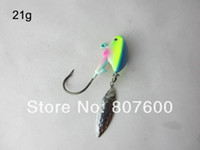 High Carbon Steel Barbed Hooks Saltwater Fishing Live Bait Jig Lead Jig Head Hook Luminous 21g With Spinner Blade 10 Pcs Lot