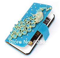For Apple iPhone Leather White Hot Sale New Fashion For iphone 5 Bling Peacock Flip Leather Stand Wallet Diamond Case Cover Free Shipping