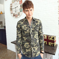Formal Men Demin Personality Shirts 2014 Men's Spring Fashion Camouflage Casual Long-sleeve Military outfit Free shipping