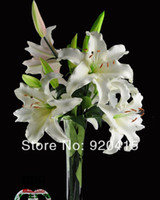 New Year artificial flower tiger lily - 31 inch real touch artificial flowers tiger lily flowers in white and colors for wedding bouquets home decorations decorative flower
