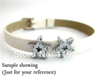 Wholesale price mm star with half rhinestones Slide Charms Fit for Pet Collars Wristbands Belts