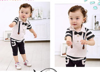 Boy Summer Short EMS fast shipping Wholesale baby clothing 2014 baby boy clothing Gentleman T-shirt+pants 2pcs set boys summer clothes